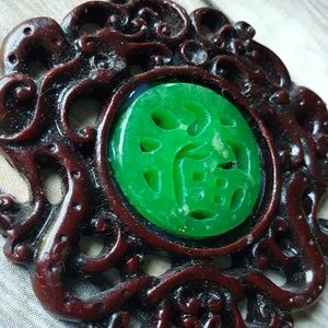 vintage Large Asian good luck pendant green red